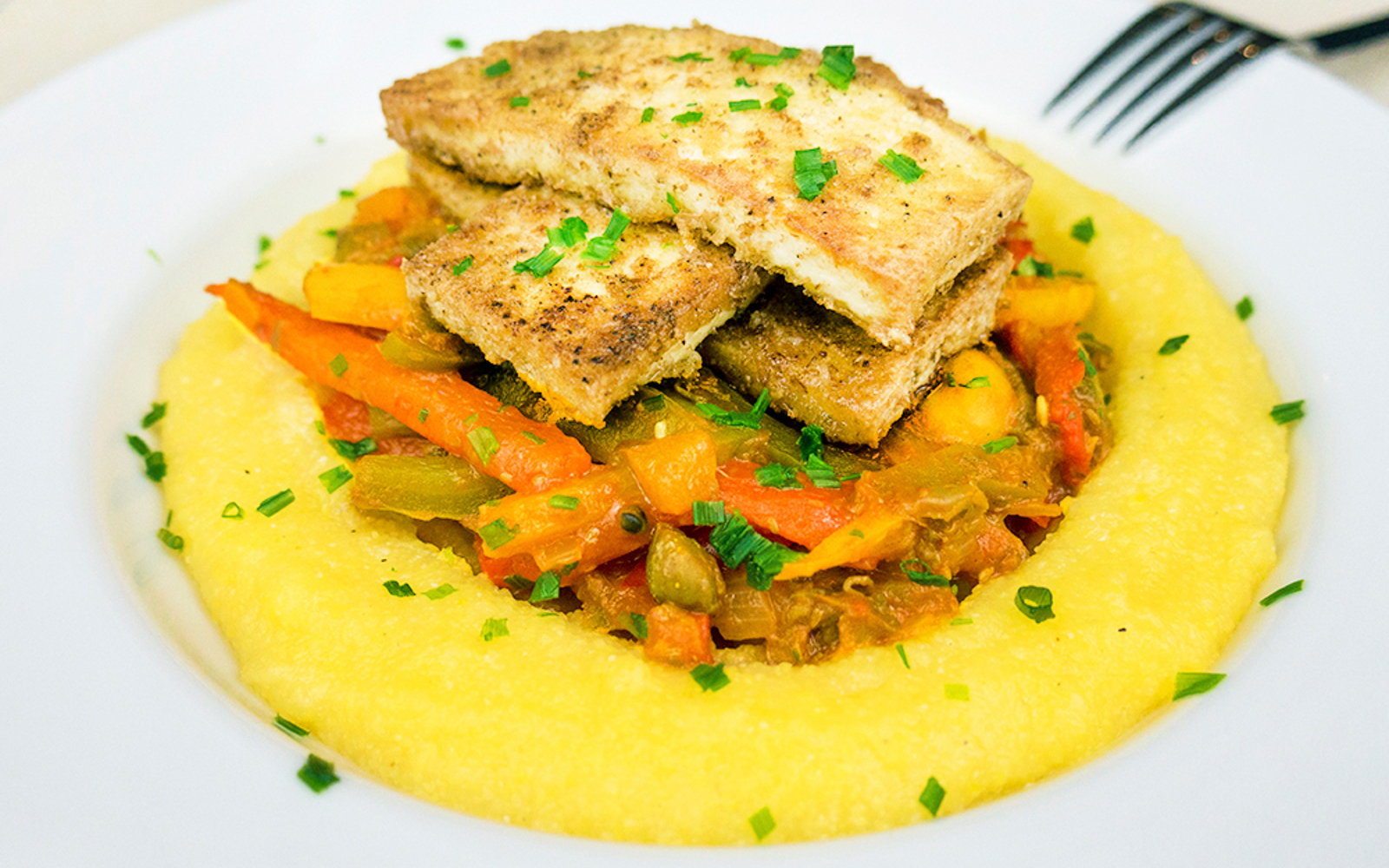 Polenta With Mixed Peppers, Mushrooms, and Crispy Tofu