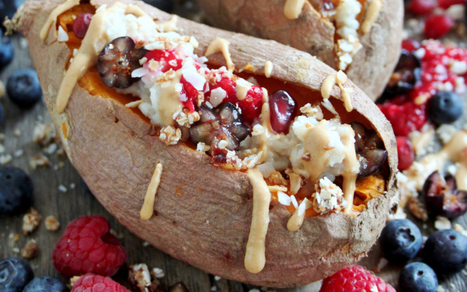 Breakfast Stuffed Sweet Potato With Coconut Date Crunch b