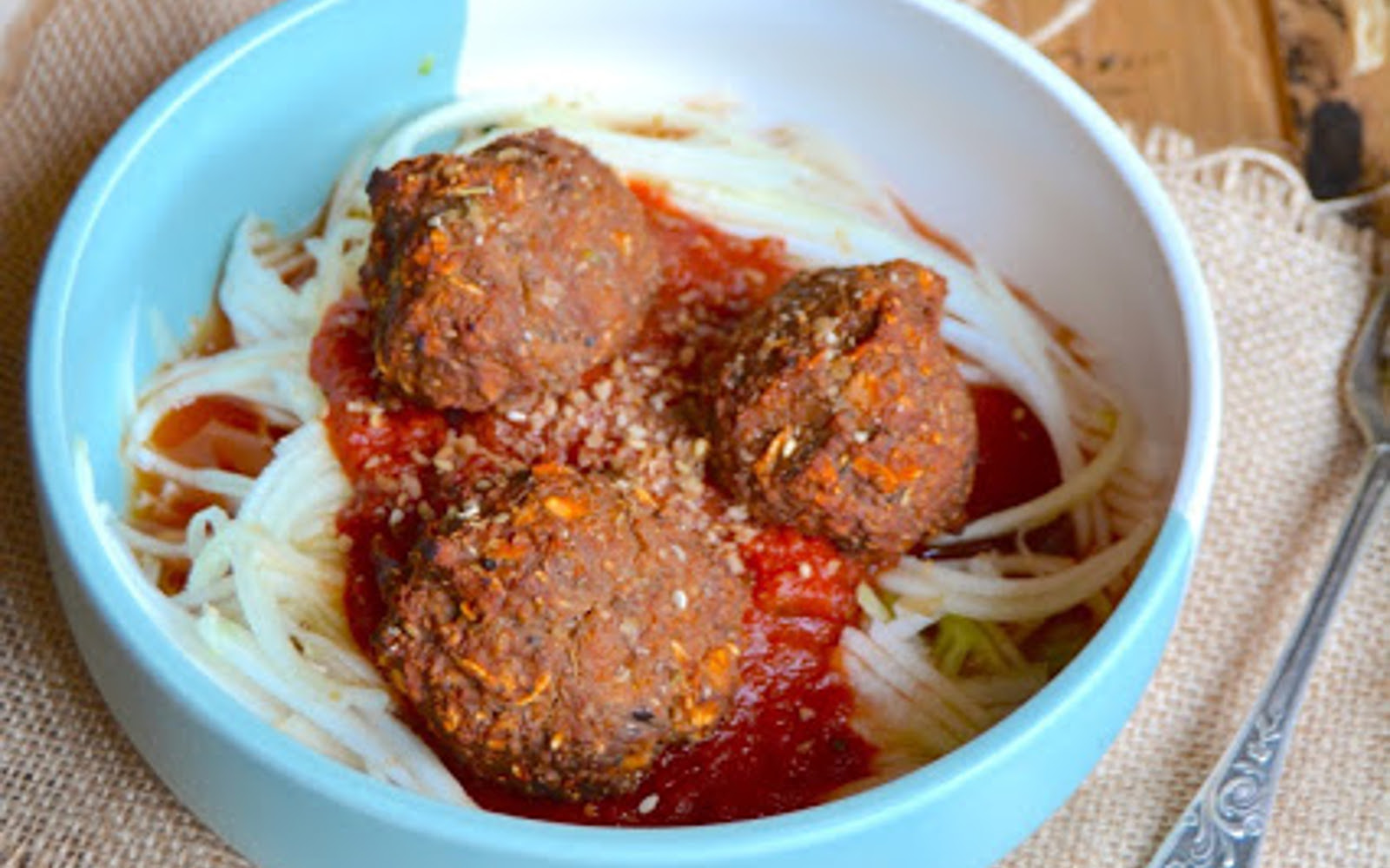 """Eggplant """"Meatballs"""" With Zucchini Spaghetti"""