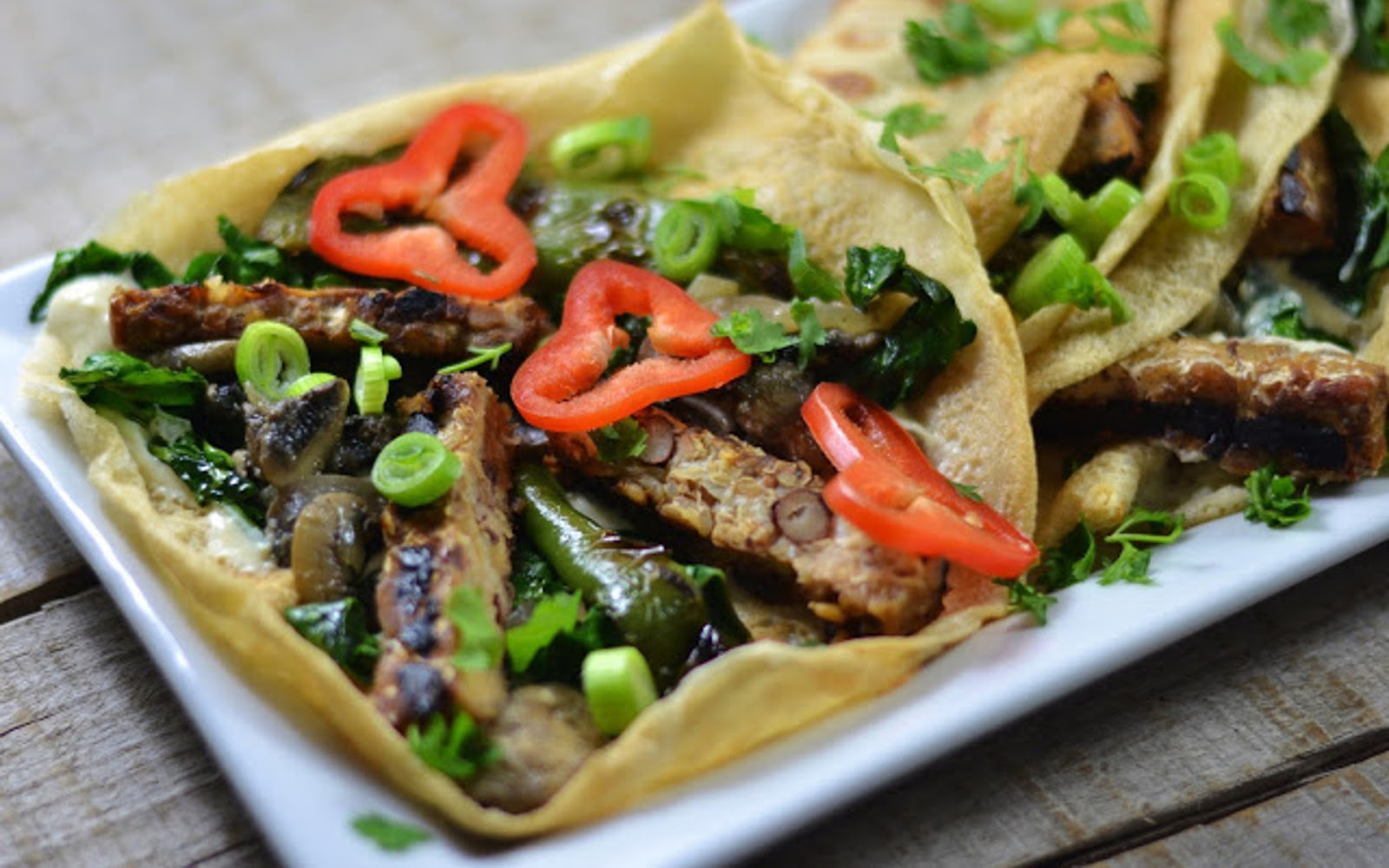 Grilled Tempeh and Mushroom Crepes