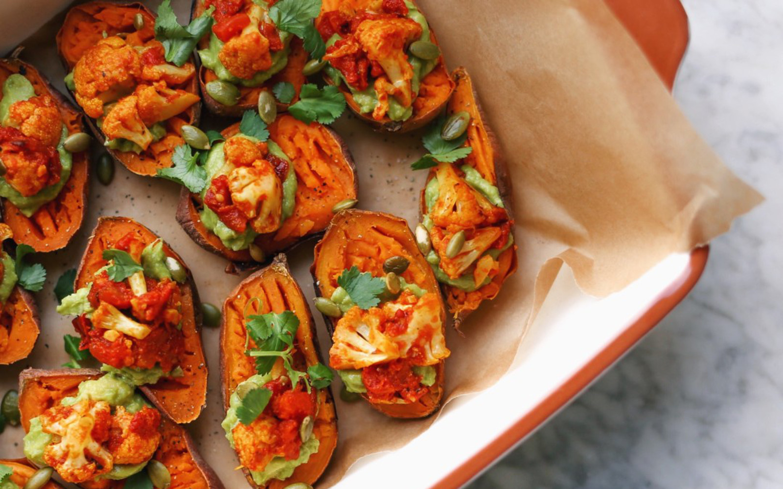 Sweet Potato Bites With Guacamole and Cauliflower