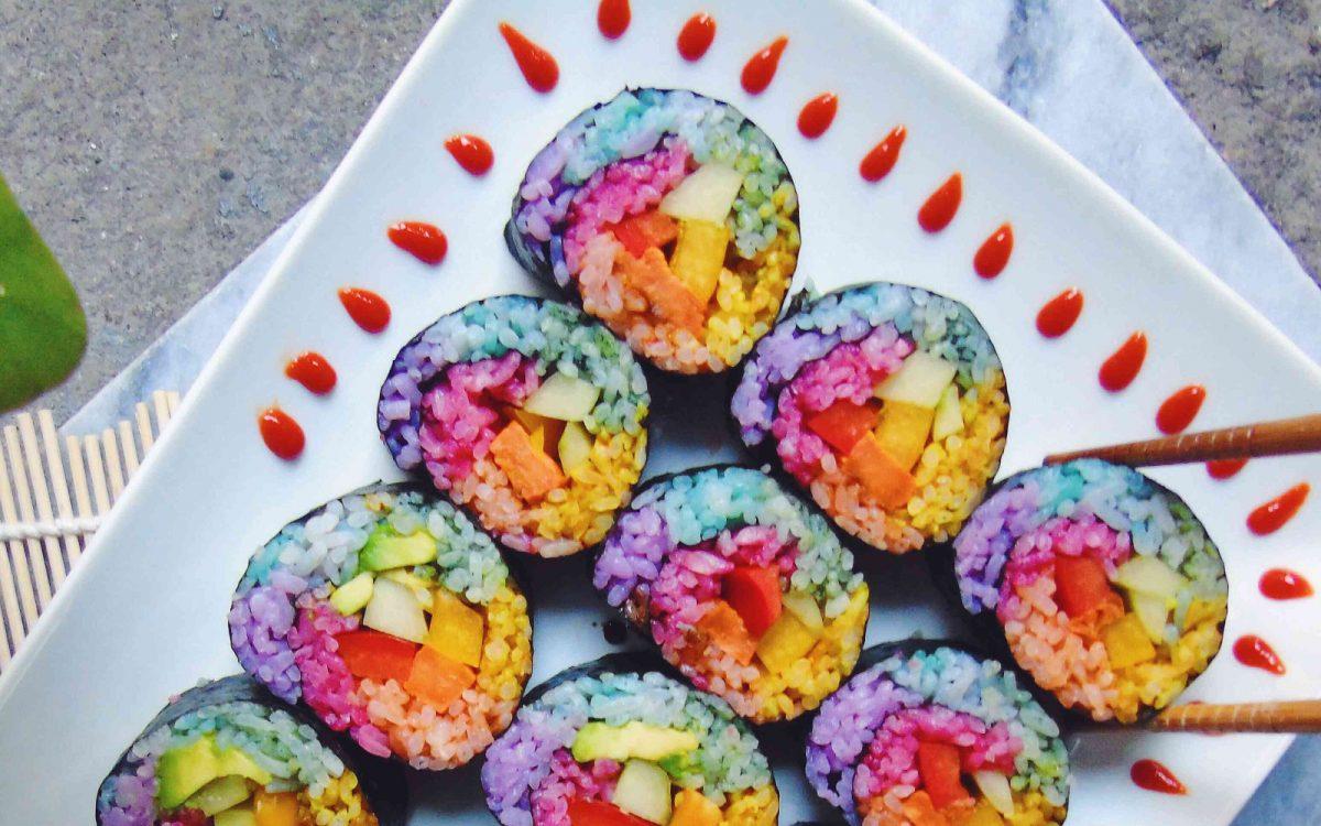 Rainbow Unicorn Sweet Potato Sushi