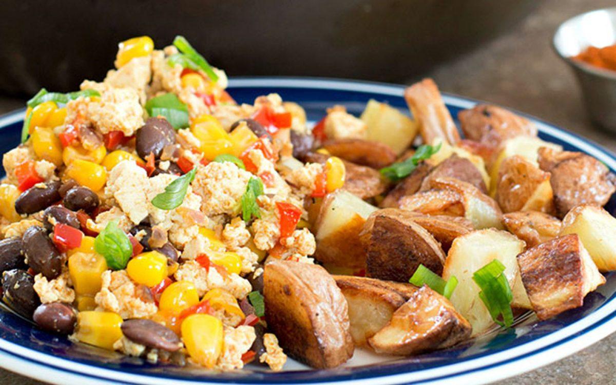 Vegan Southwestern Tofu Scramble With Roast Potatoes