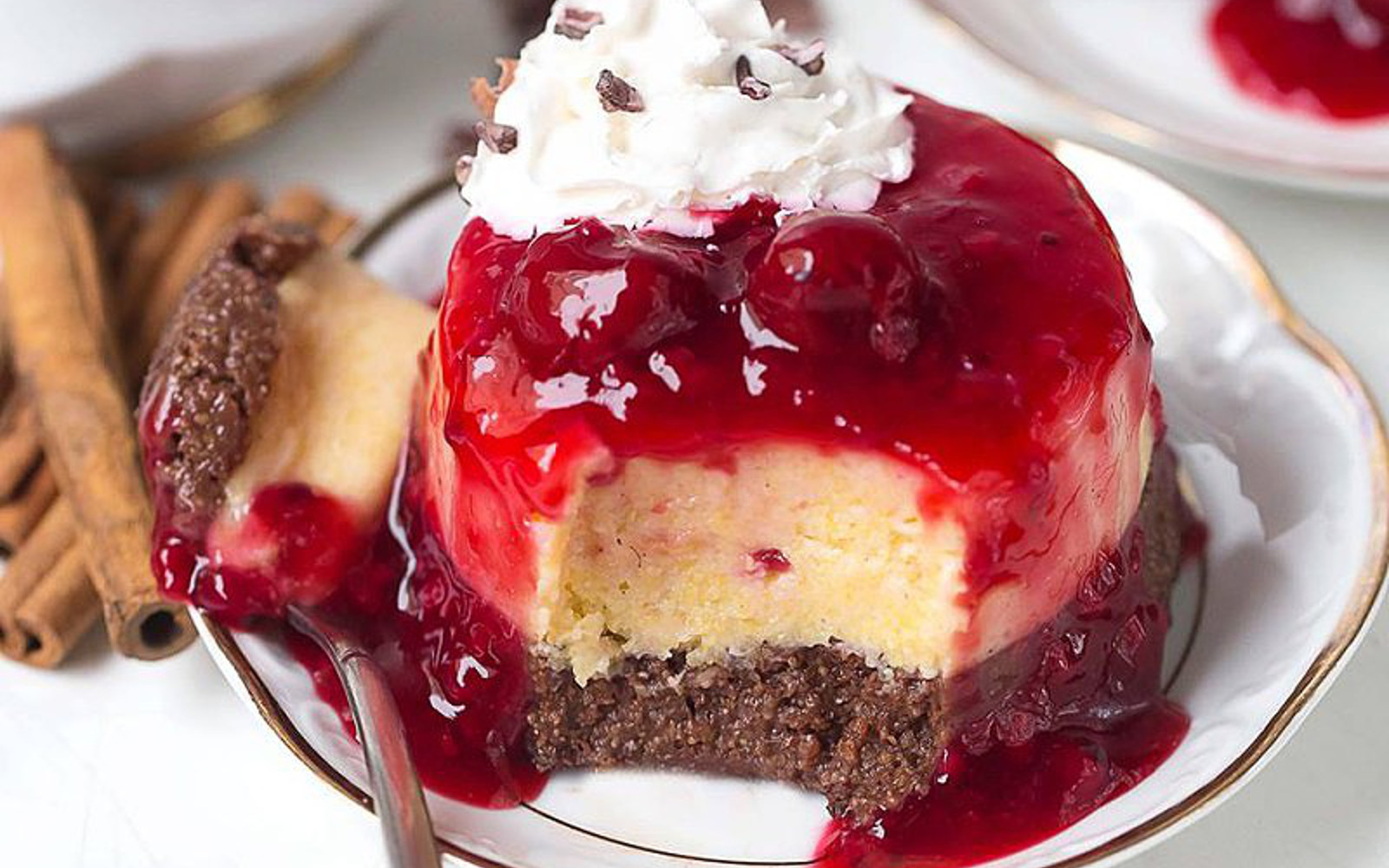 Sweet Polenta Cake With Cherry Sauce