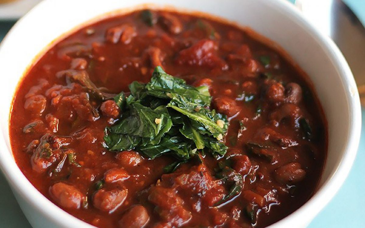Vegan Black-Eyed Pea Chili With Collards