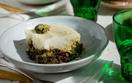 Black Lentil Charred Broccoli Shepherd's Pie