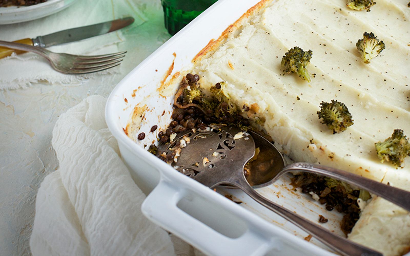 Black Lentil Charred Broccoli Shepherd's Pie