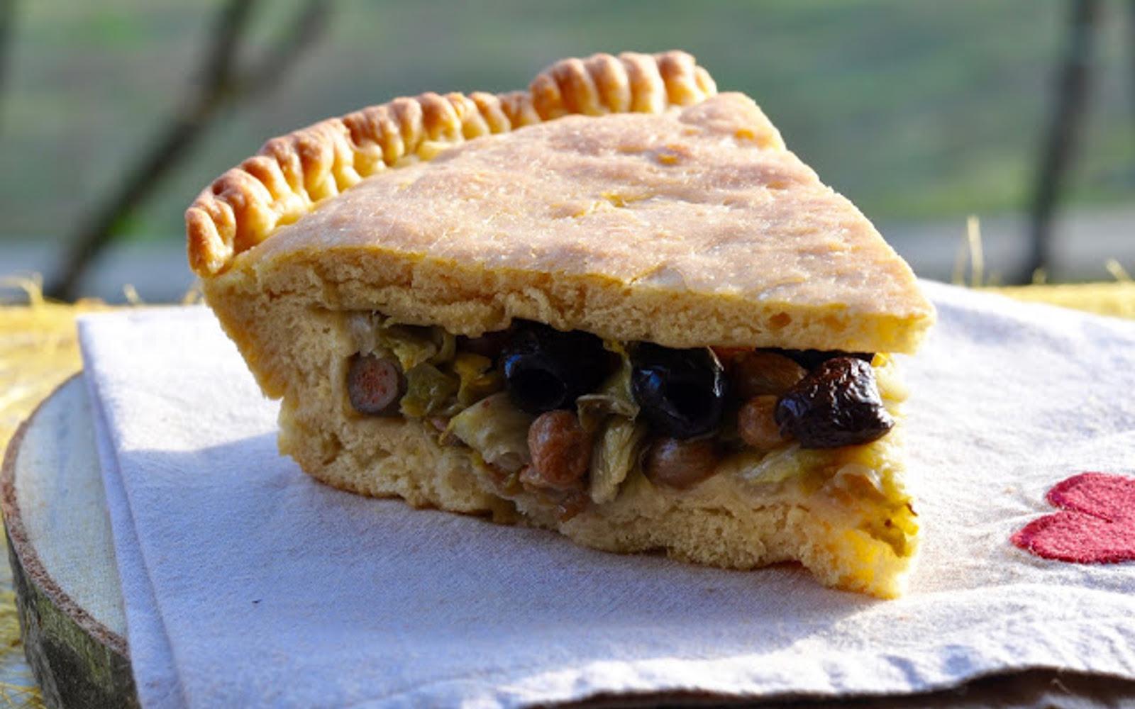 Black Olive, Caper, and Radicchio Pie