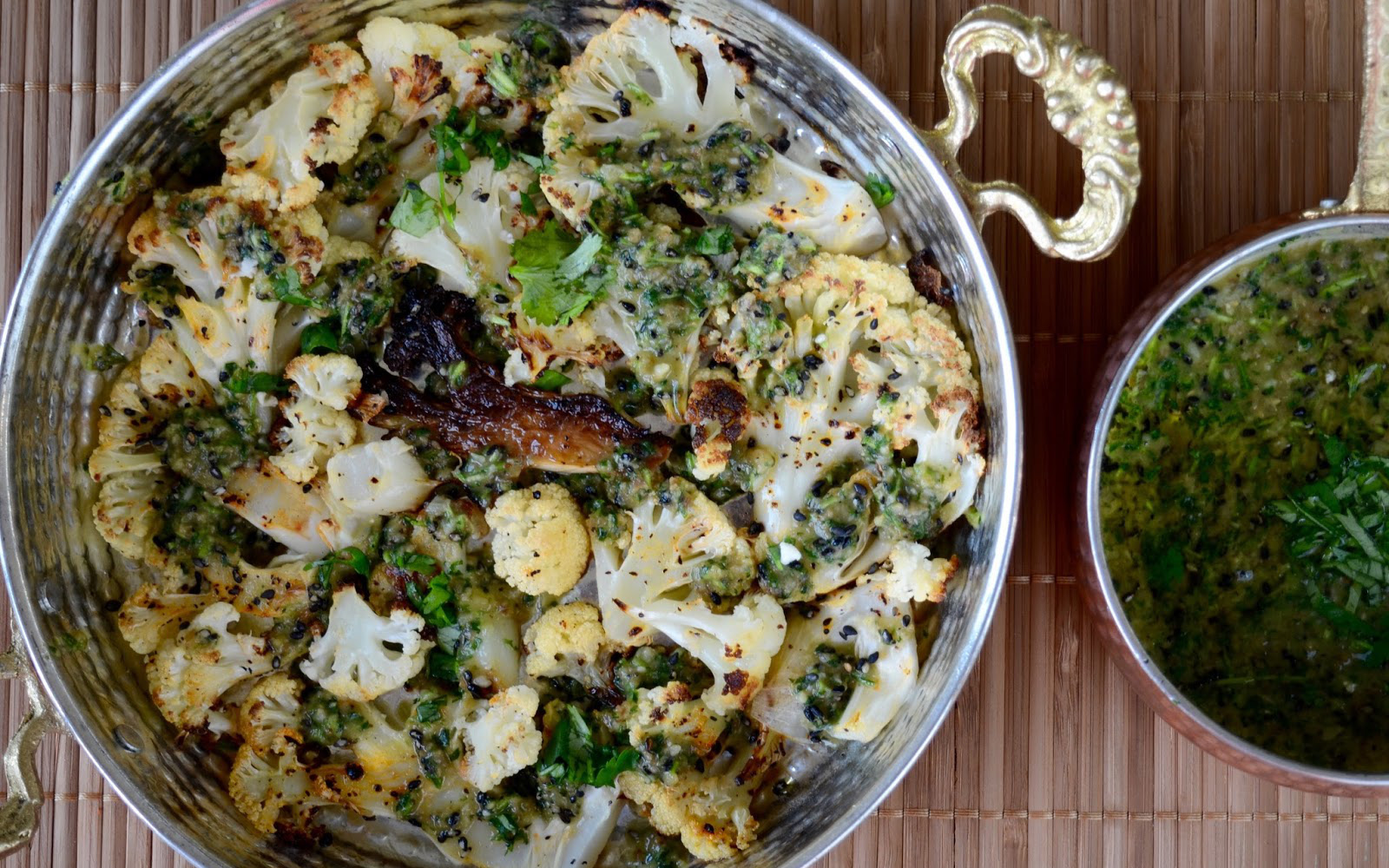 Blistered Cauliflower With Cilantro Sauce