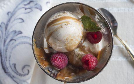 Vegan caramel vanilla bean ice cream