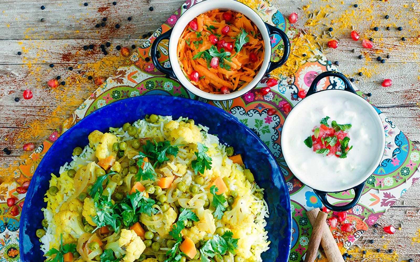 Cauliflower Biryani With Tomato Cucumber Raita b
