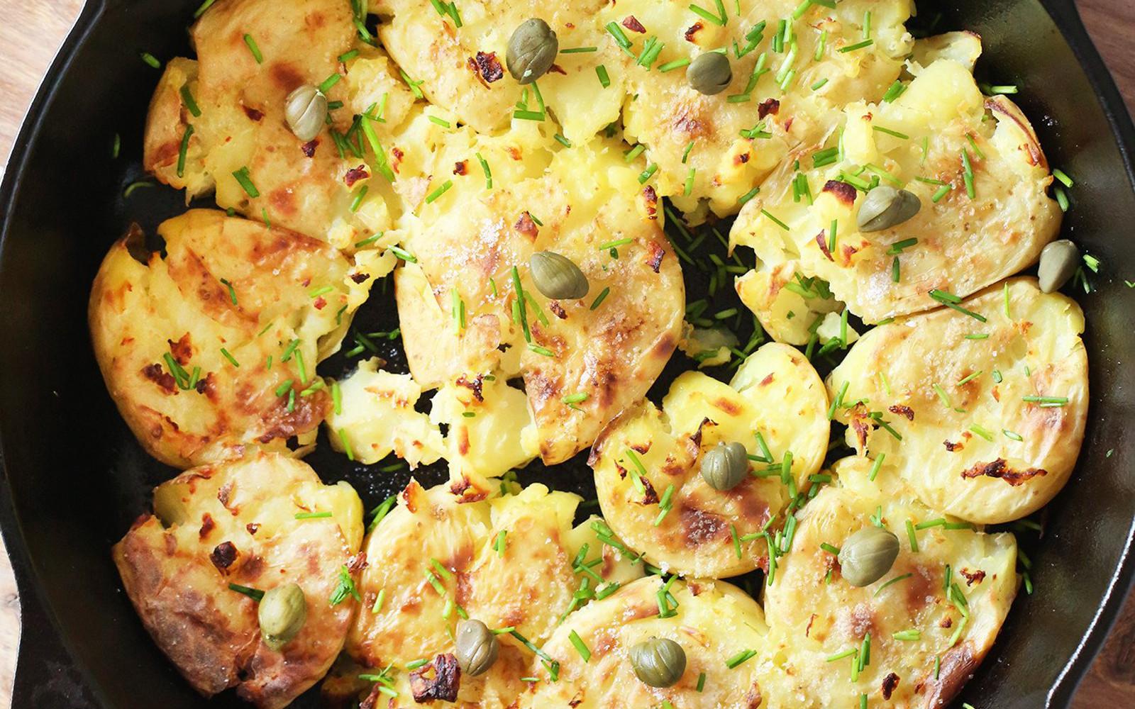 Crispy Smashed Potatoes with Caper Aioli