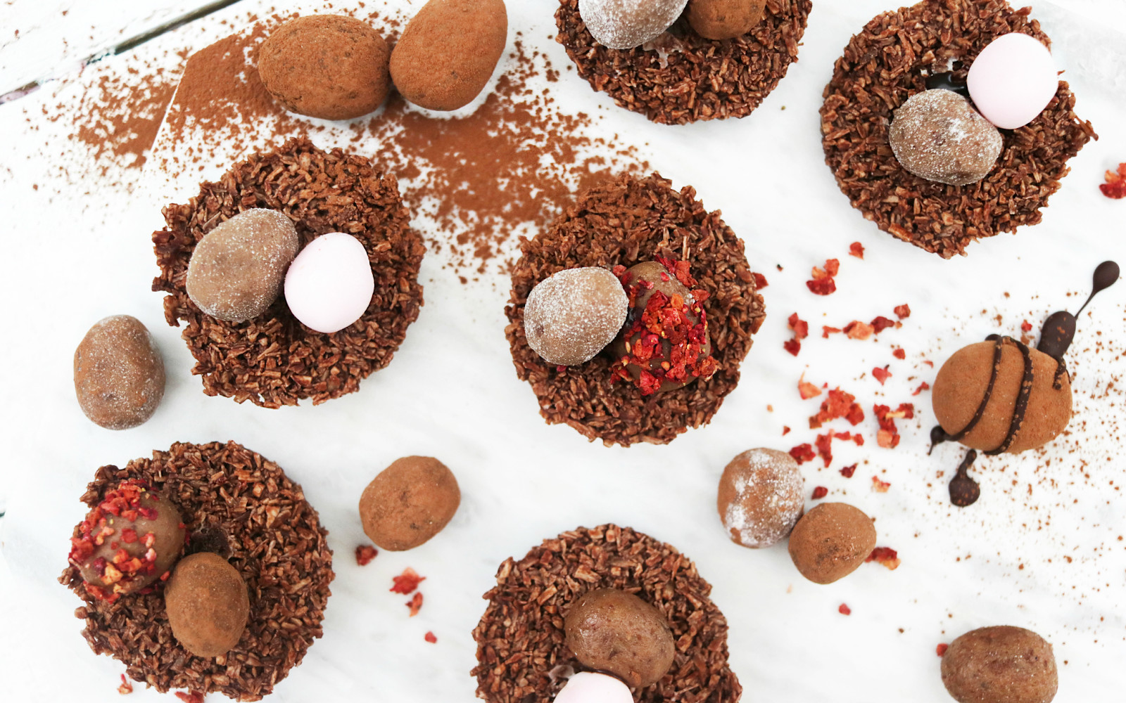 Coconut and Chocolate Easter Nests With Raw Hazelnut Mini Eggs