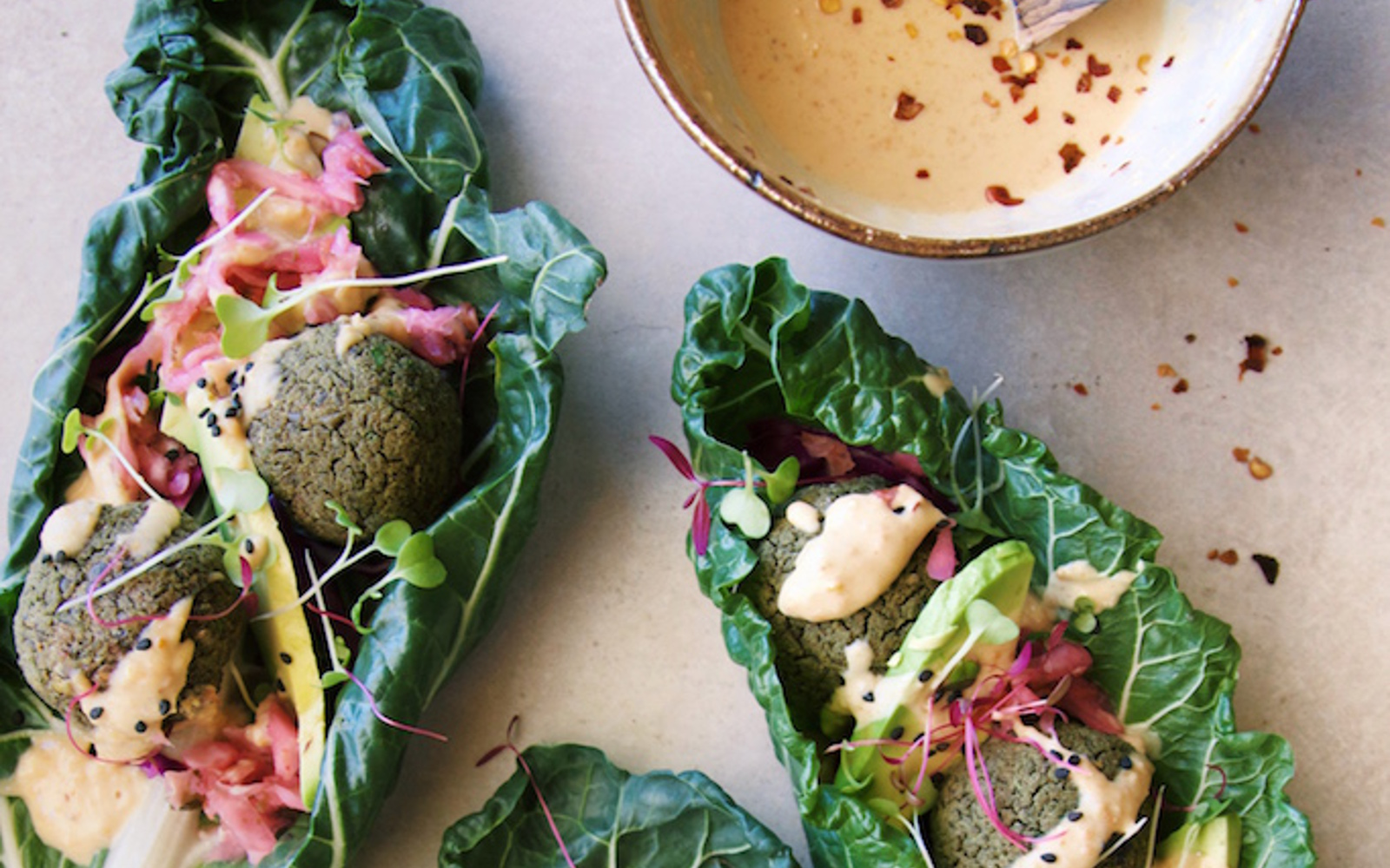 Lentil Ball Wraps With Spicy Peanut Sauce