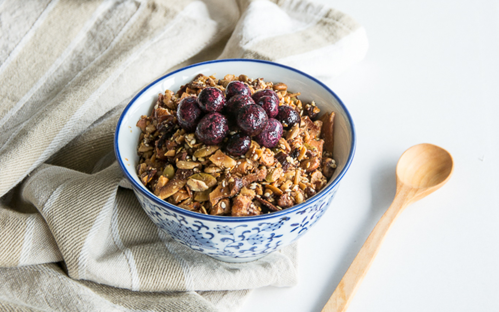 Vegan Paleo Granola topped with berries 2