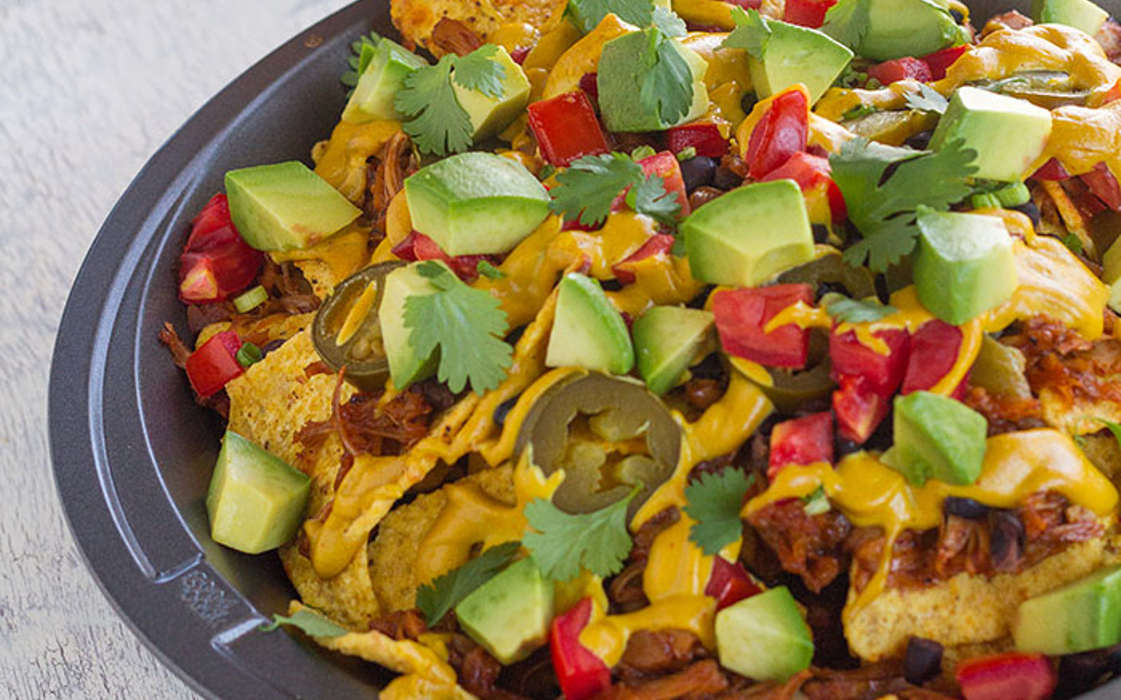 Loaded BBQ Pulled Jackfruit Nachos