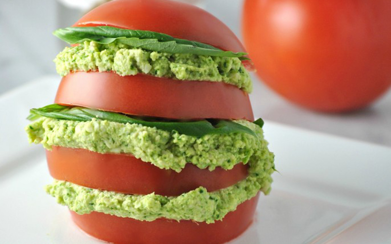 Tomatoes with Basil Cashew Cheese