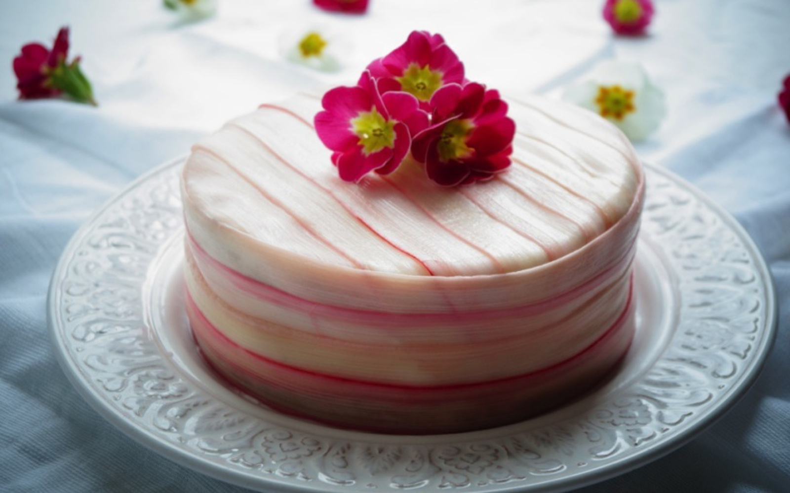 Rhubarb Champagne Cake