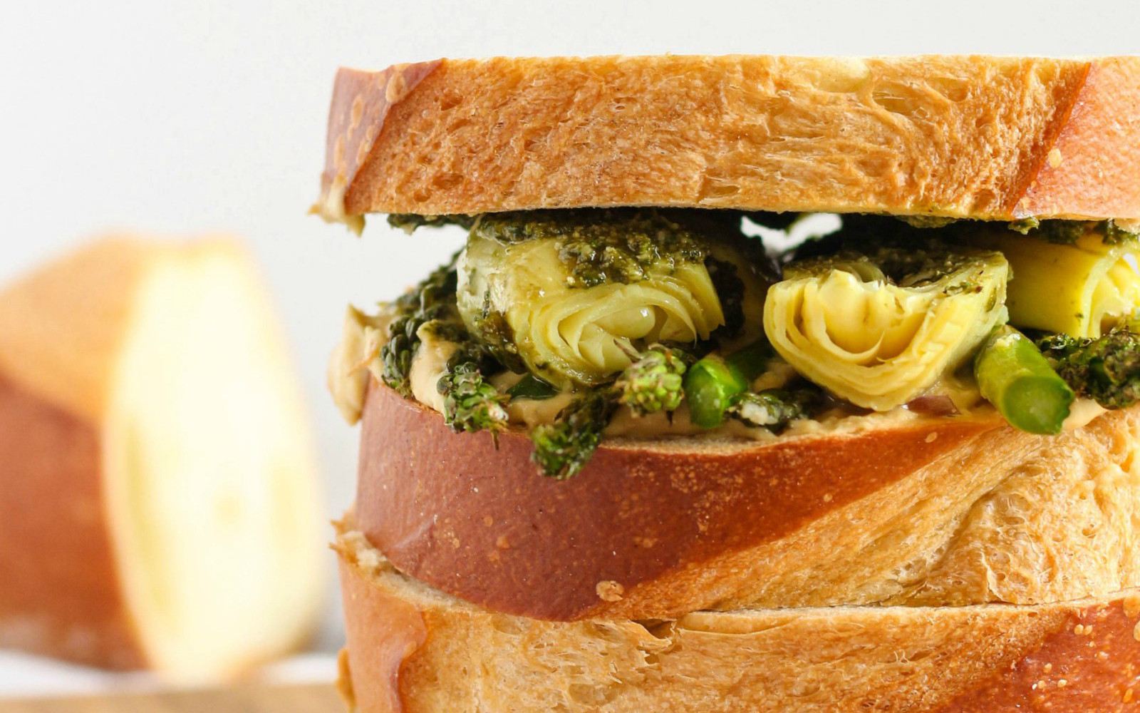 Artichoke and Pesto Hummus Sandwich