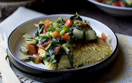 Stir-Fried Bok Choy With Chinese Noodle Cake