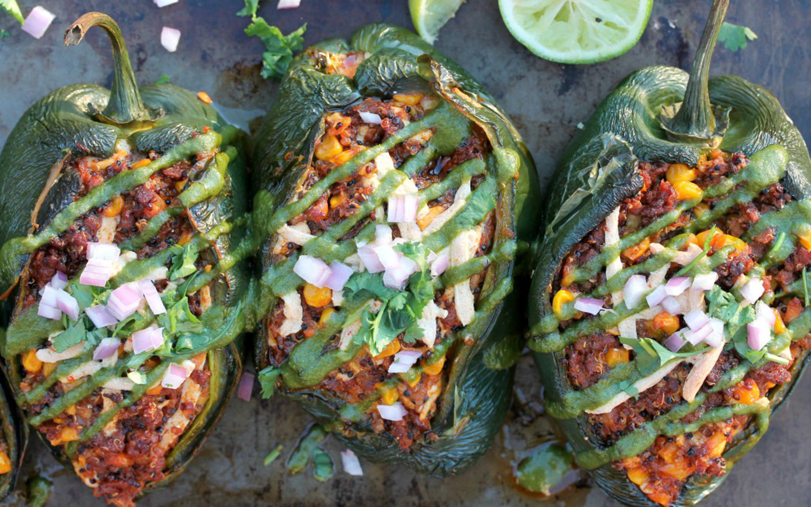 Stuffed Pasilla Peppers With Habanero Pesto