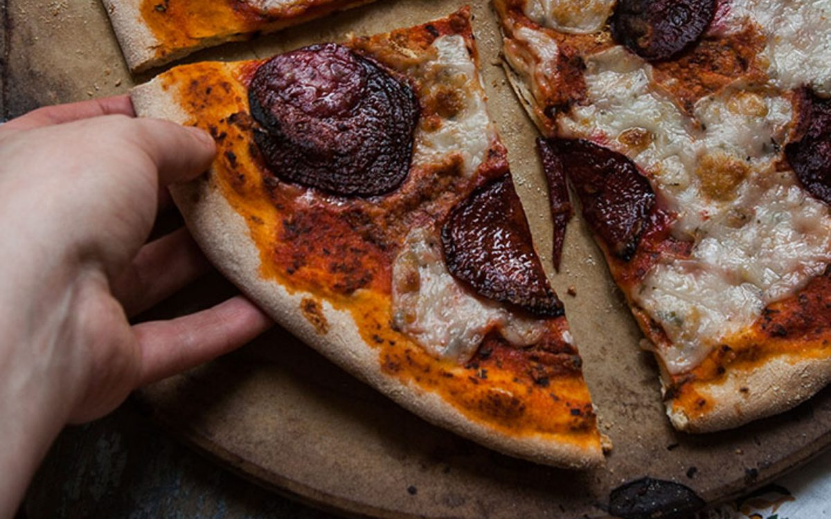 Vegan beet 'pepperoni' pizza