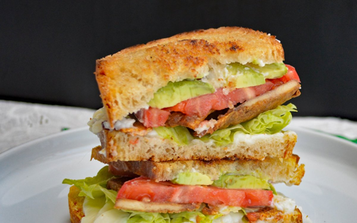 Tempeh Bacon, Lettuce, Tomato, and Avocado Grilled Cheese [Vegan, Gluten-Free]