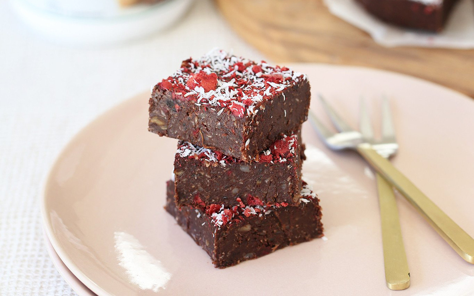 Vegan cherry ripe brownies