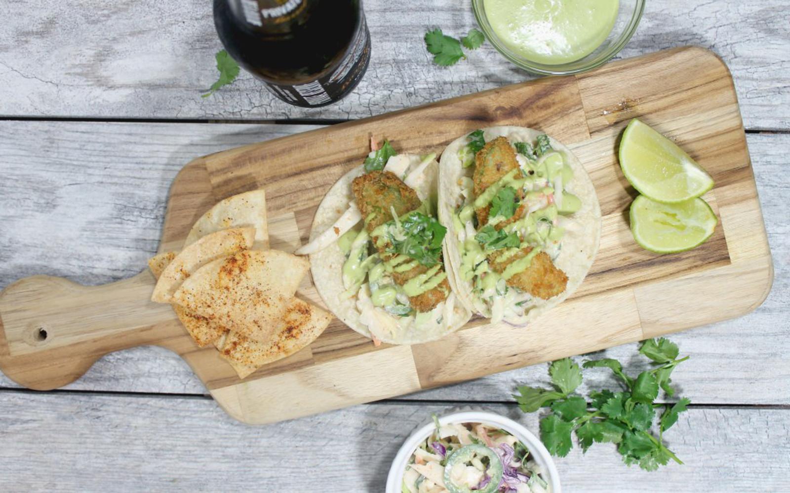 Fried Avocado Tacos With Jalapeno Slaw