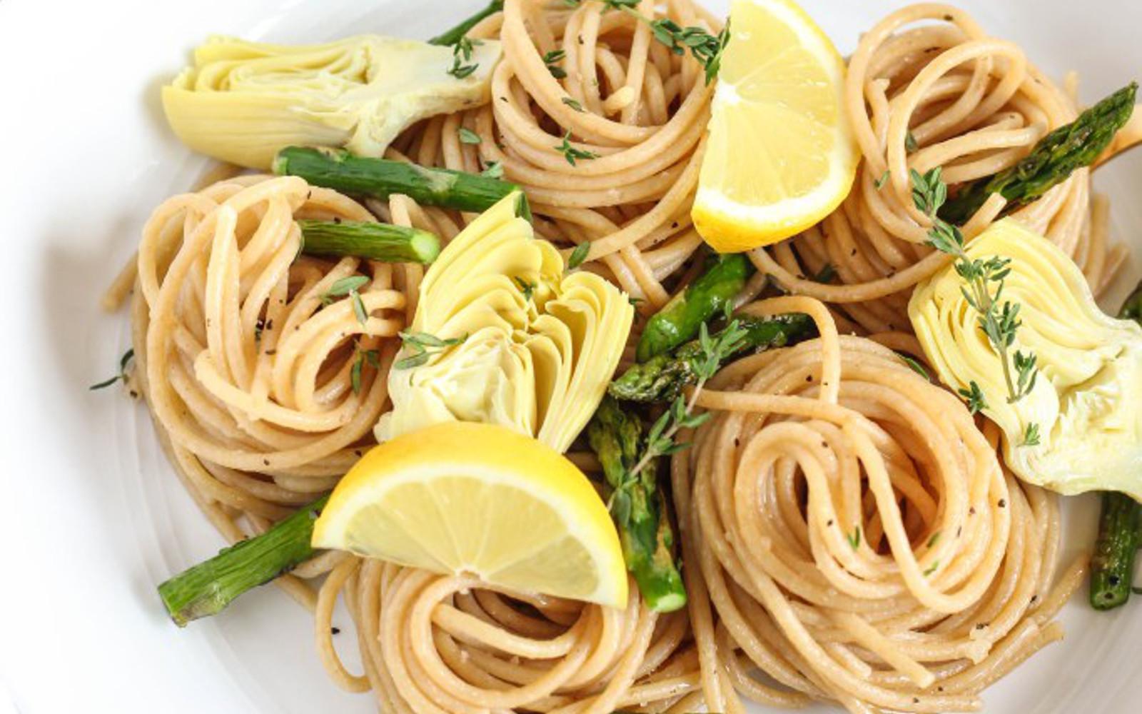 Vegan Gluten-free Garlic Asparagus Artichoke Pasta with fresh lemon