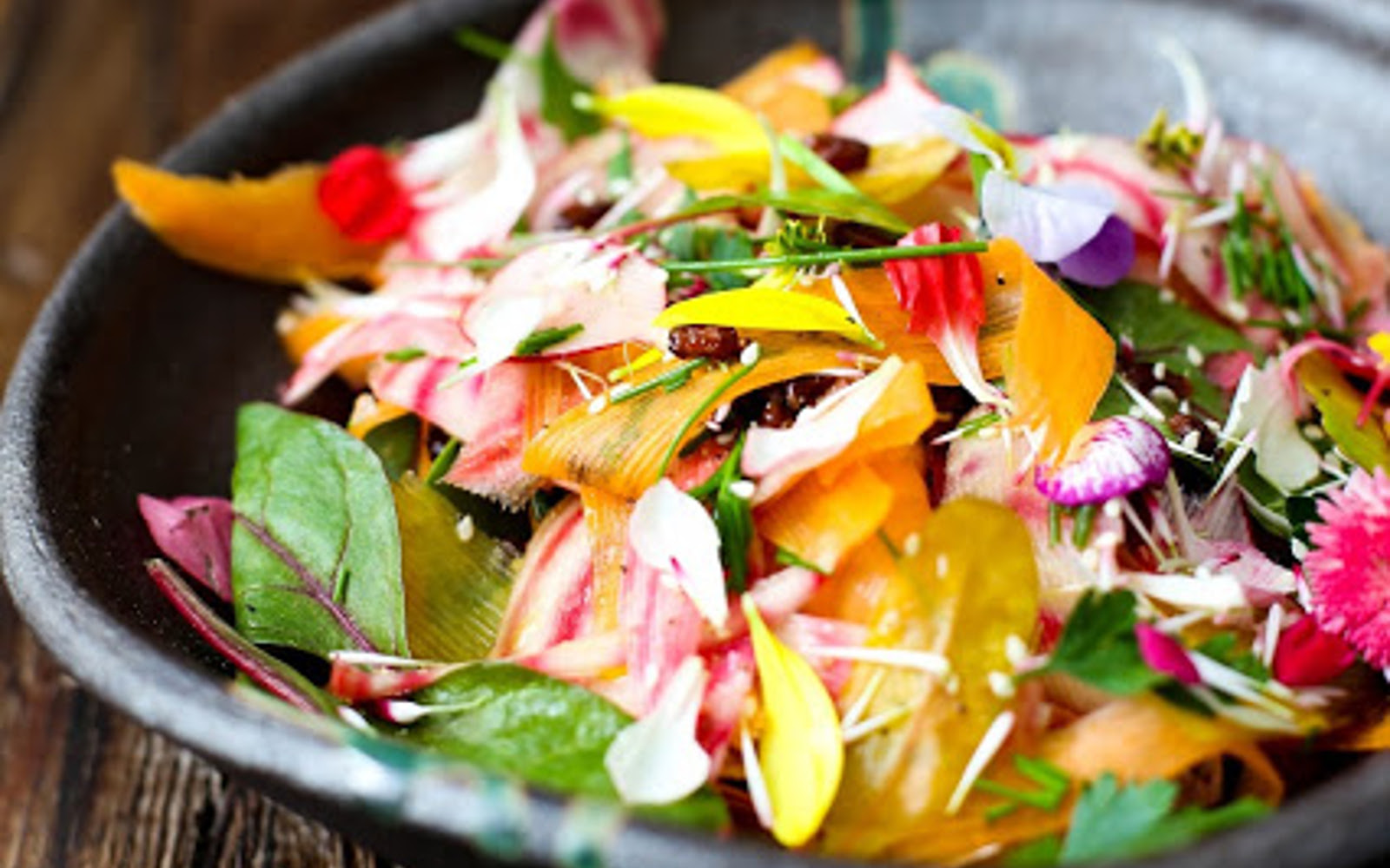 Spring Salad With Carrots, Beets, and Flowers