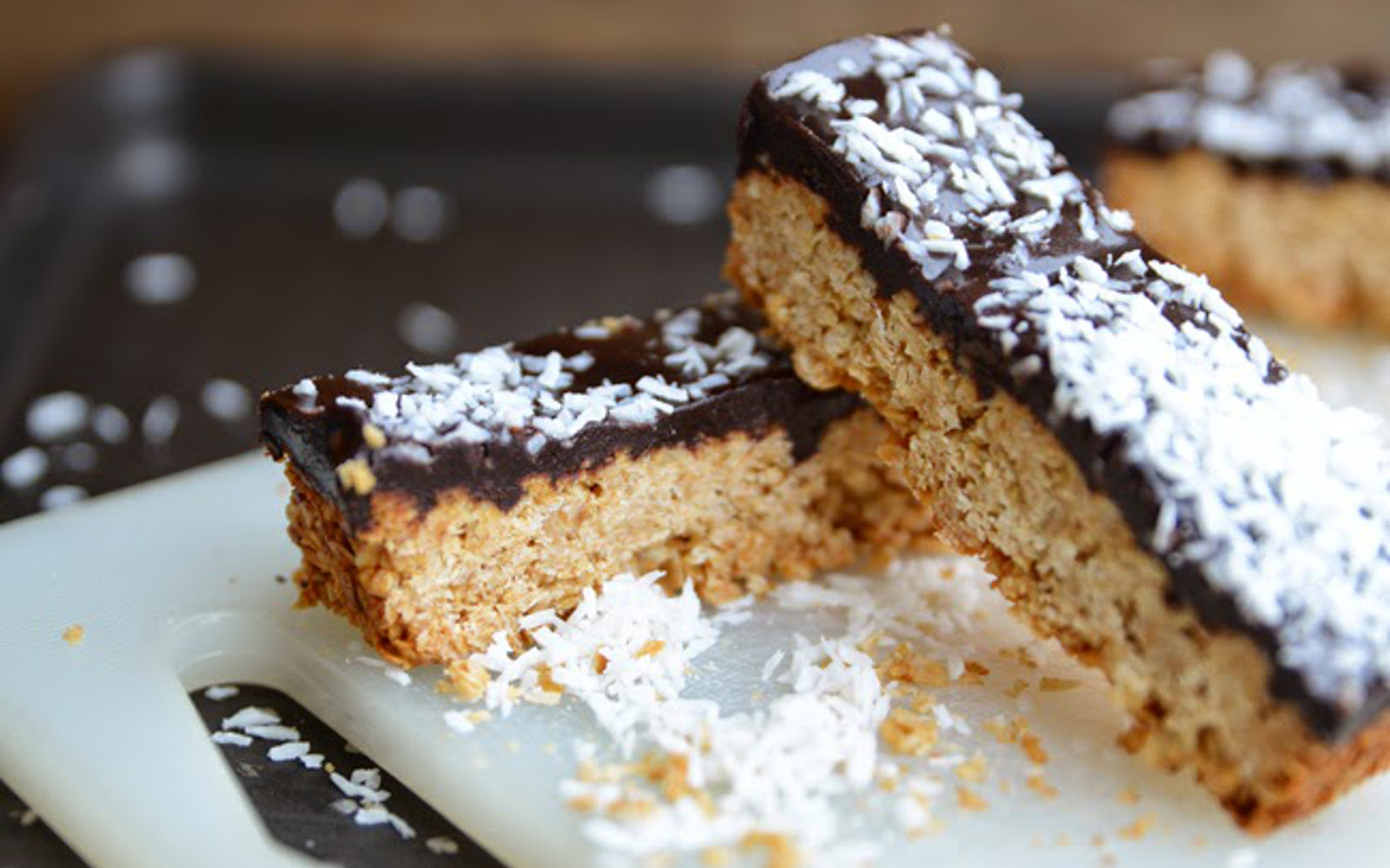 Caramel and Coconut Oat Bar with Homemade Chocolate