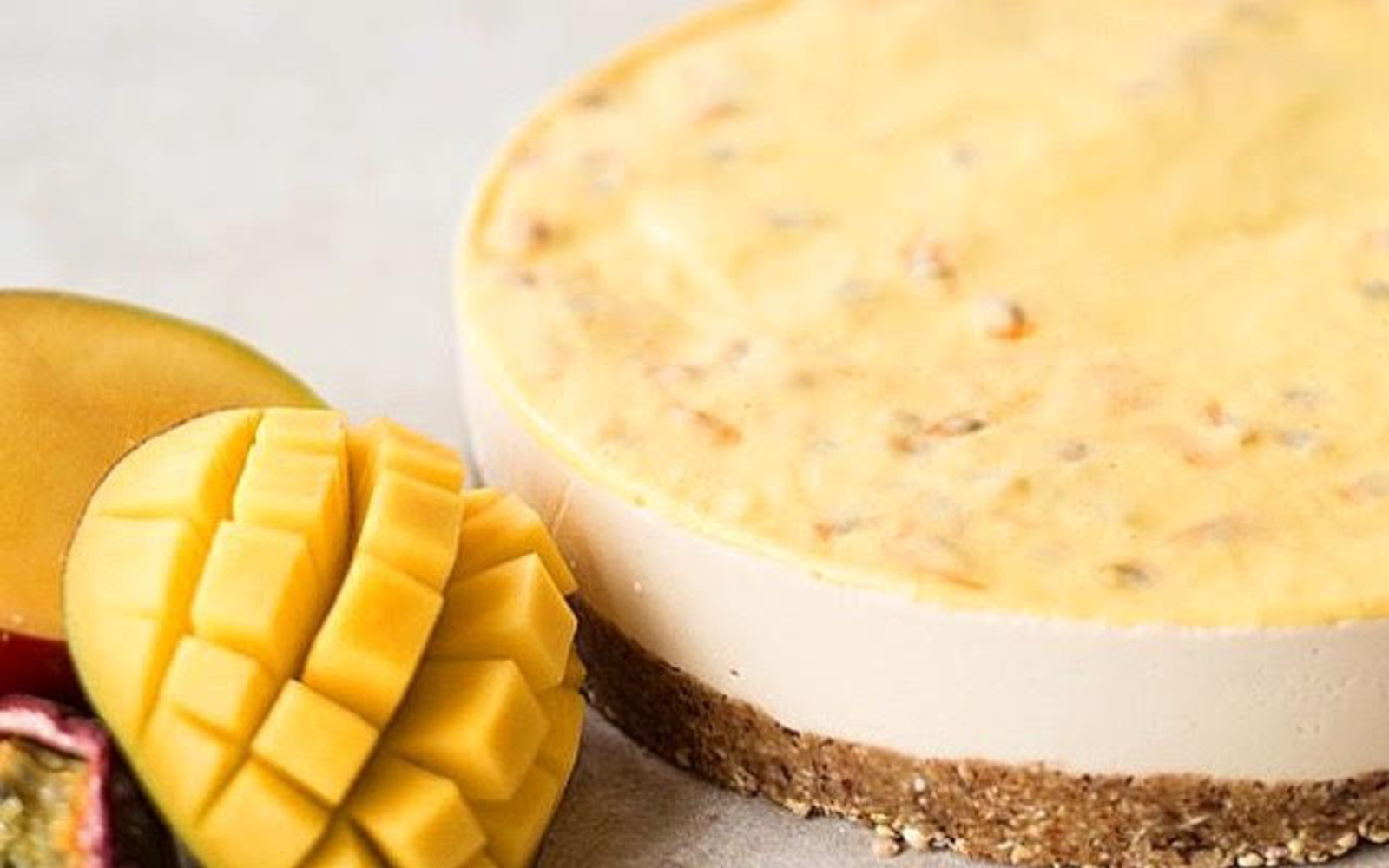 Raw Mango and Passion Fruit Cheesecake