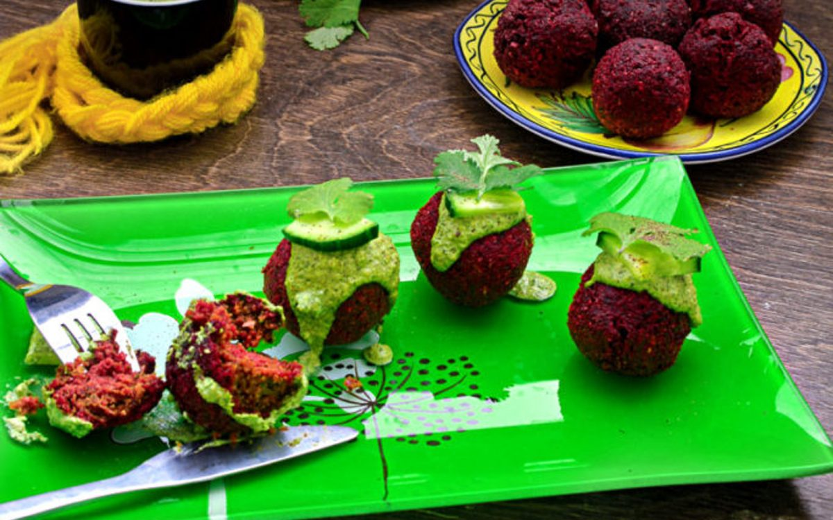 Roasted Beet Falafel With Green Tahini Dip