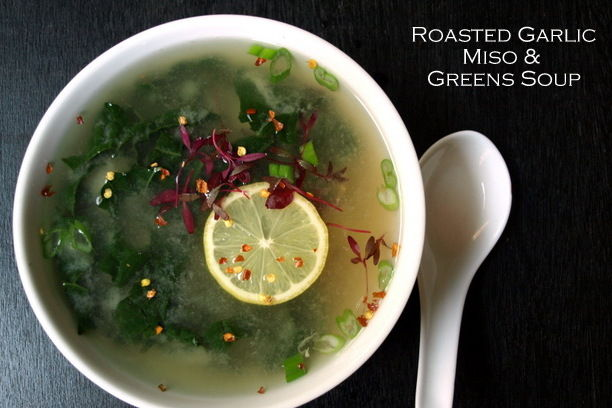 Roasted-Garlic-Miso-Greens-Soup