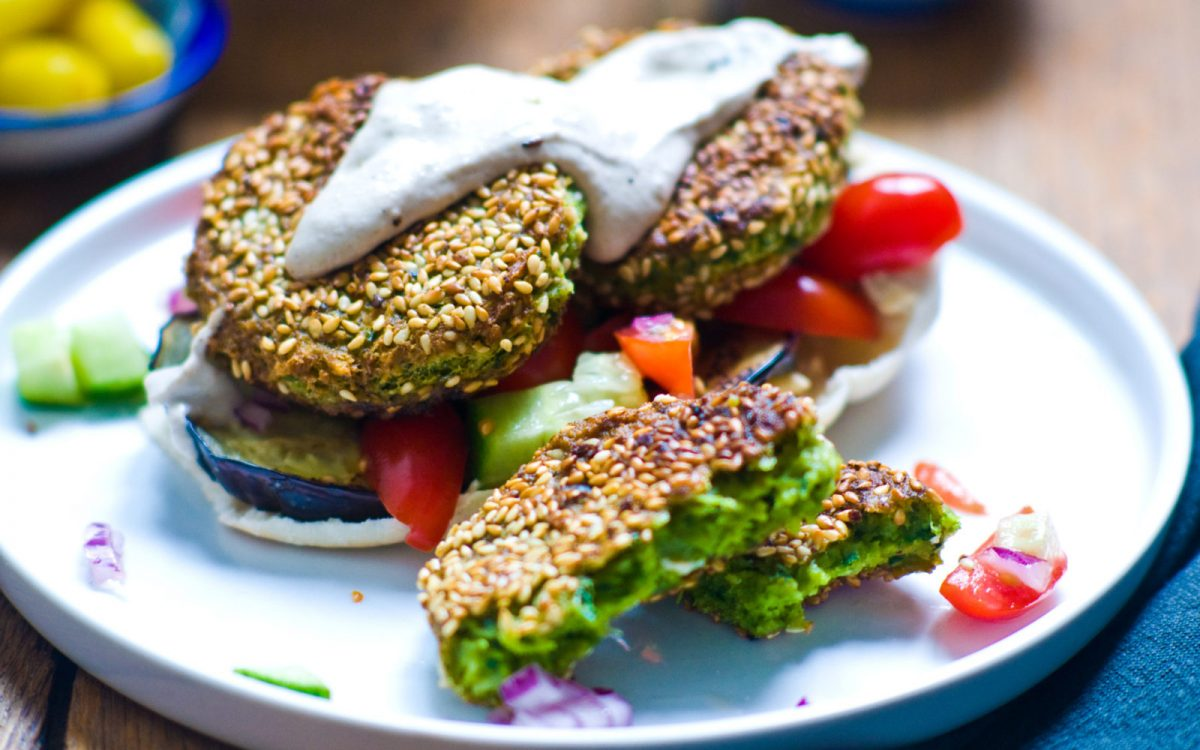 Sesame Encrusted Spinach and Almond Falafel