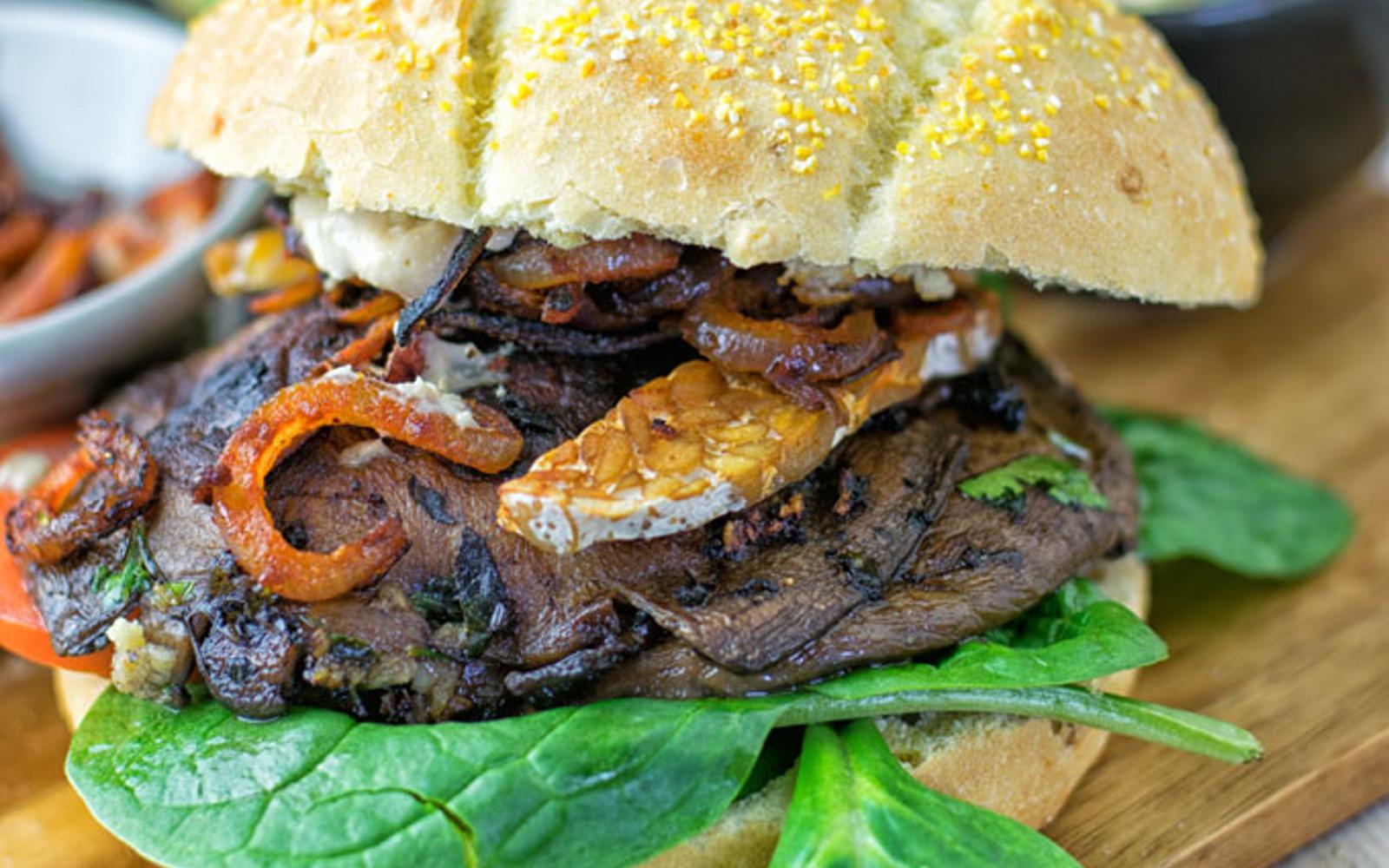 Tempeh Bacon Portobello Mushroom Burger