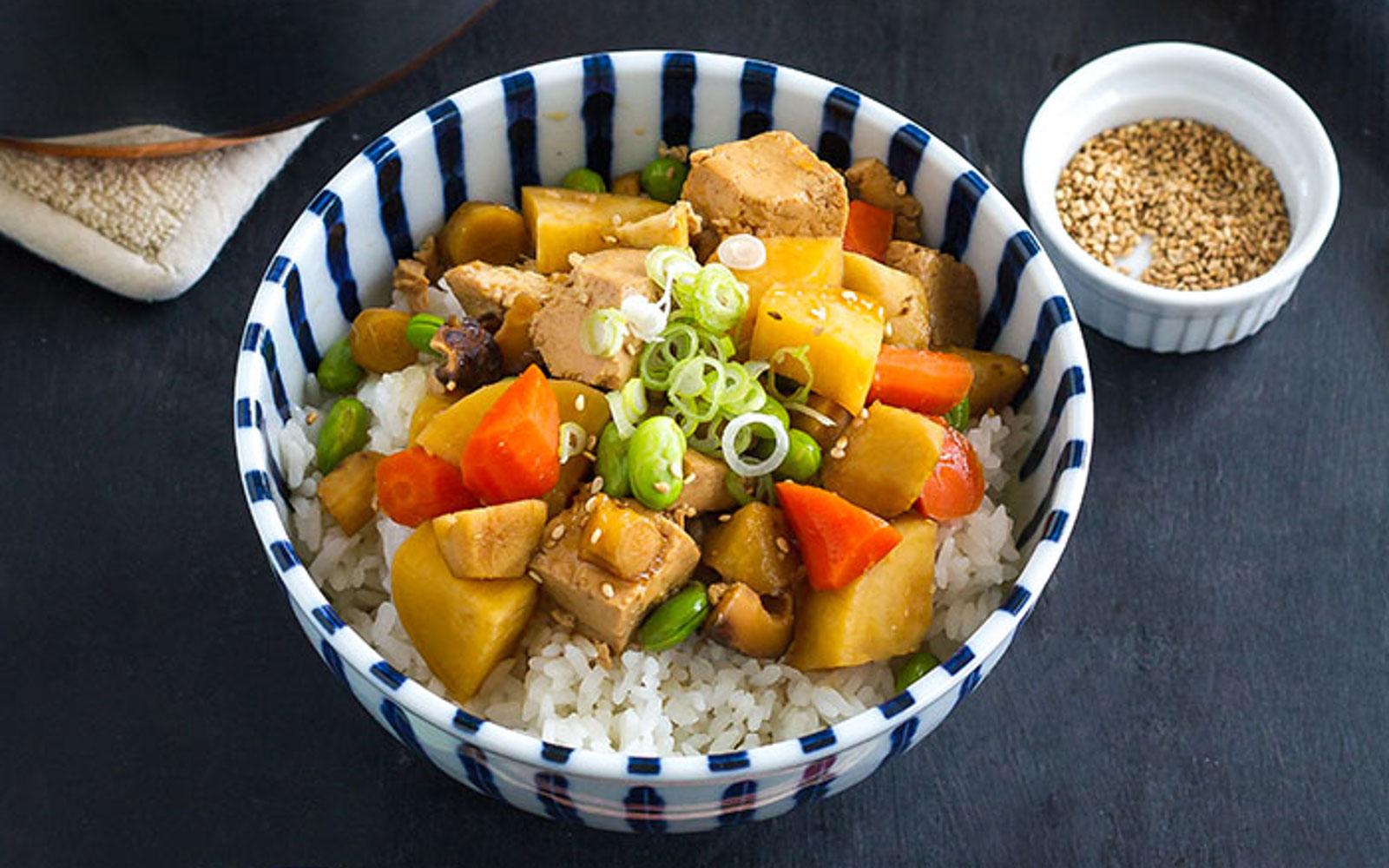 Tofu Yasai Don Japanese Tofu Rice Bowl