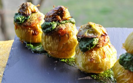 Vegetable and Pesto Stuffed Kohlrabi