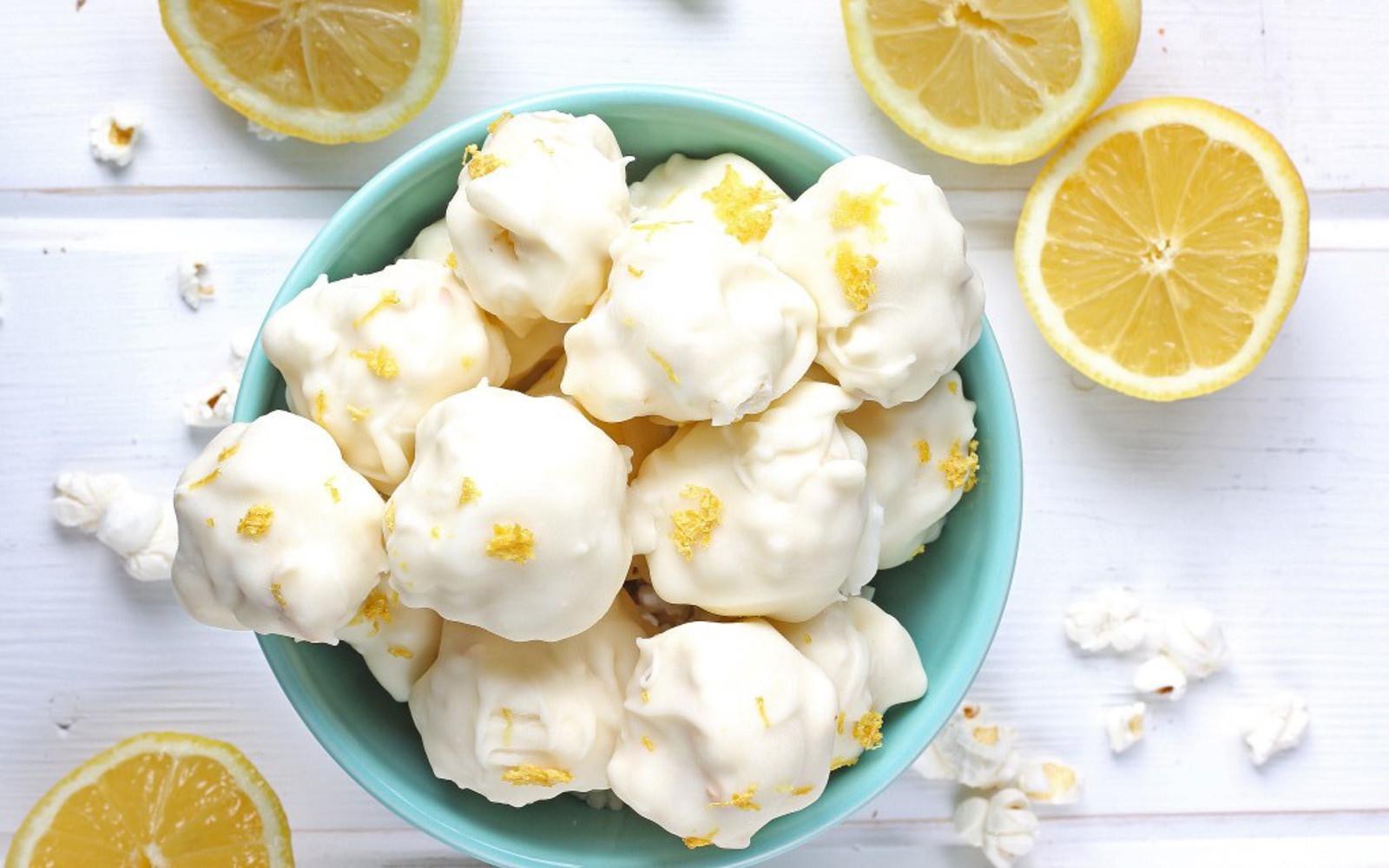 White Chocolate Lemon Popcorn Truffles