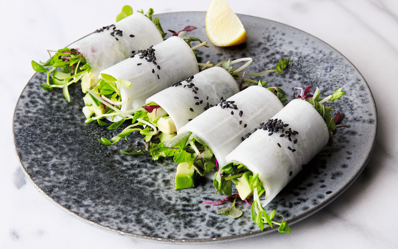 Summer Daikon Rolls With Avocado and Micro Greens