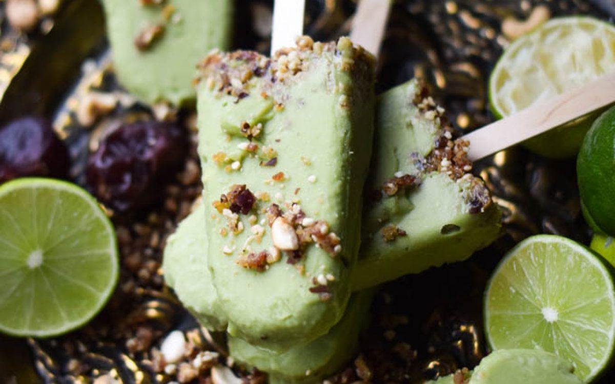 Vegan 5-Ingredient Avocado Key Lime Pie dairy-free Popsicles