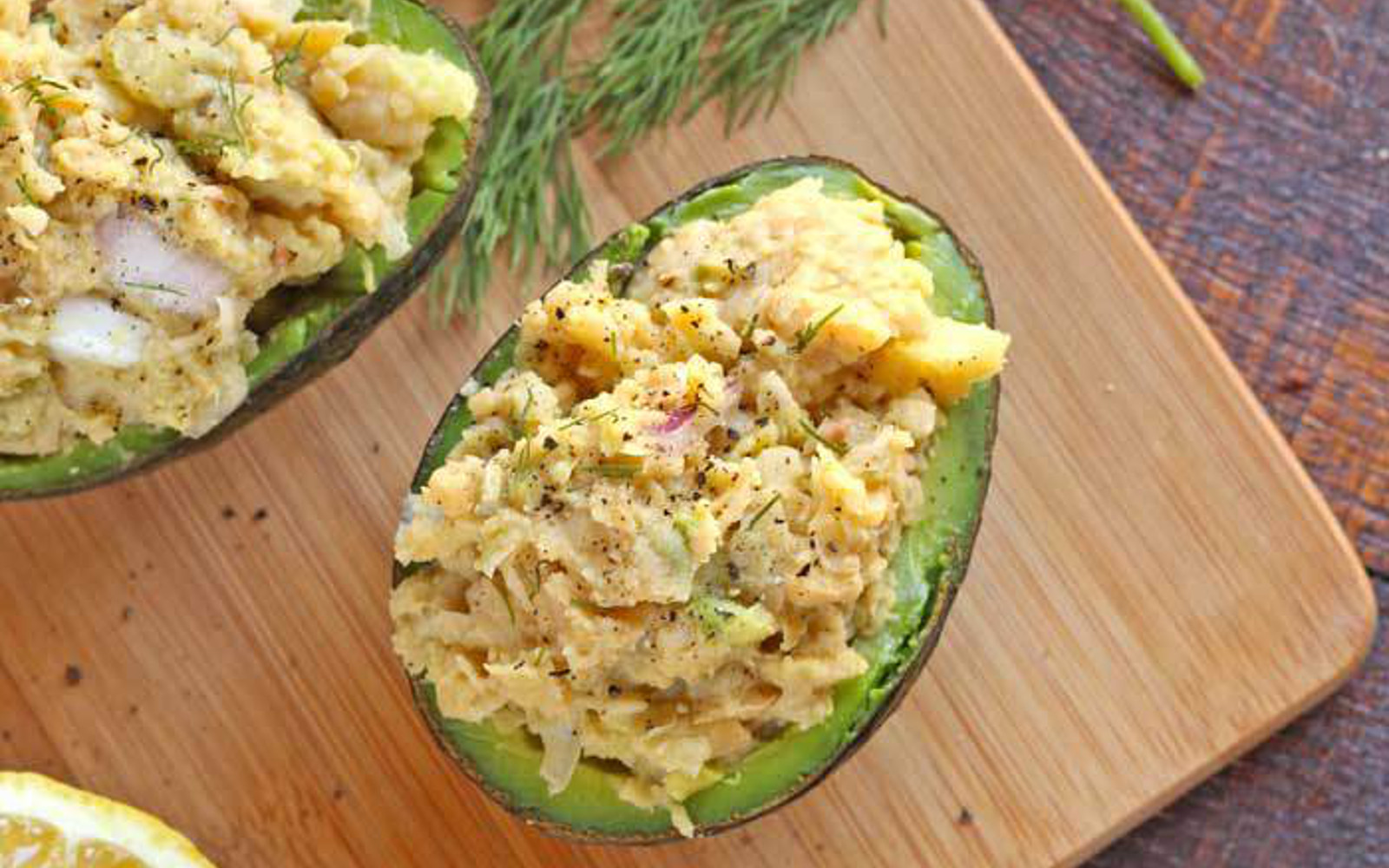 Chickpea Salad Stuffed Avocados