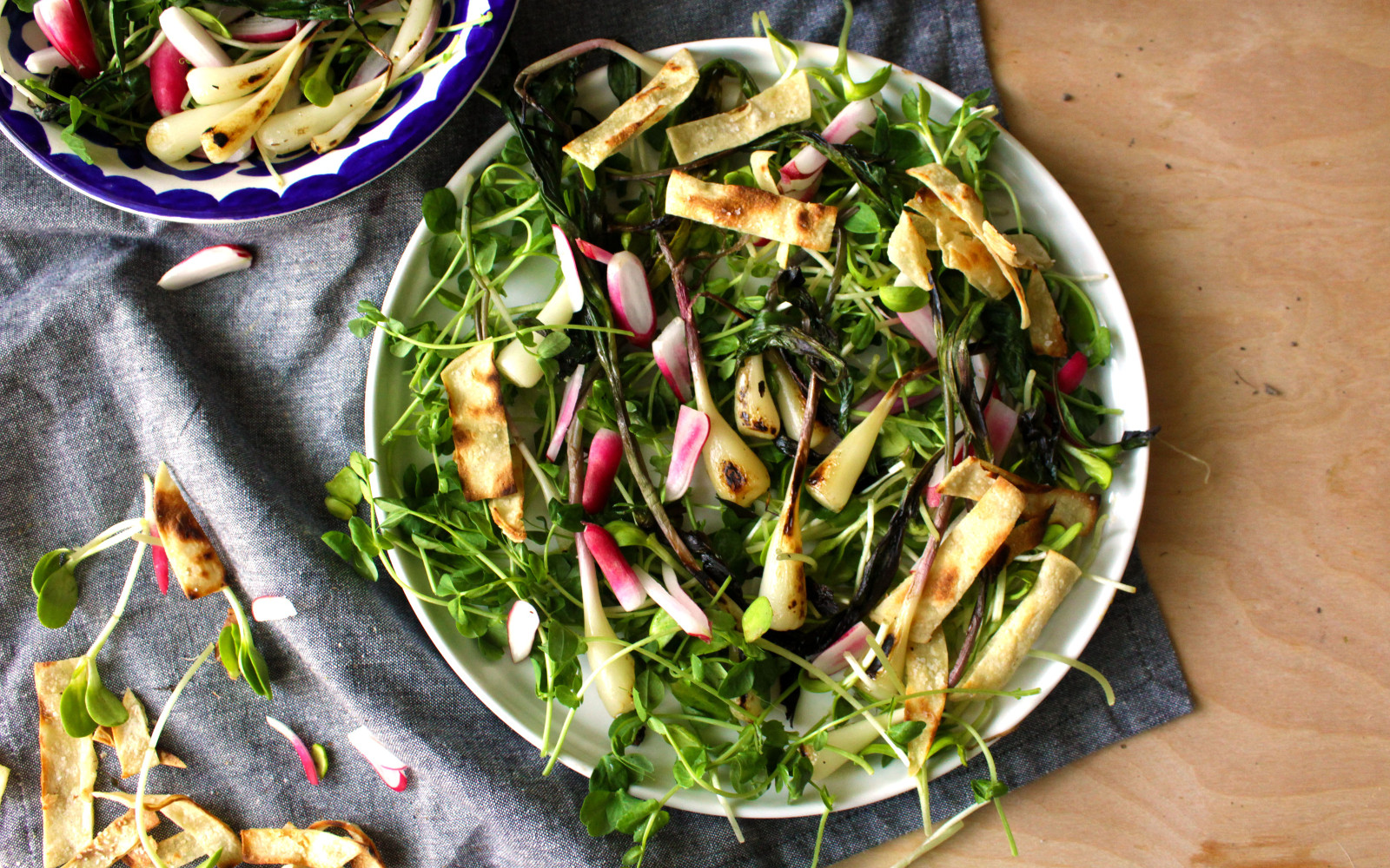 Fried Ramps With French Breakfast Radishes and Spring Shoots