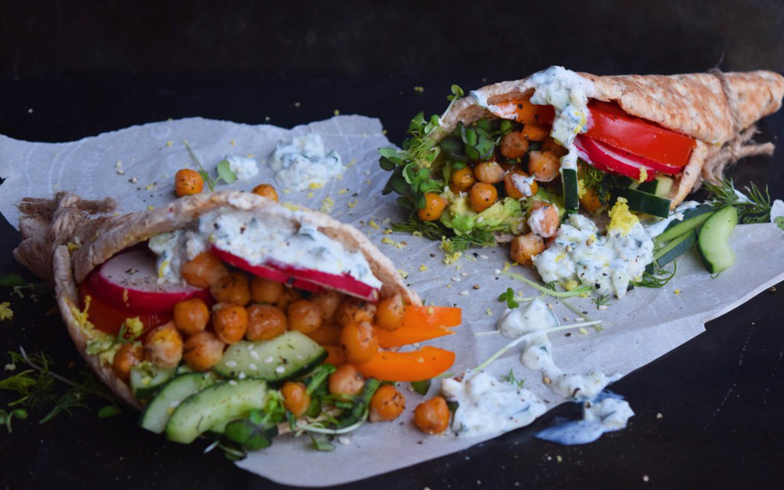 Dill Pickle Roasted Chickpea Gyros