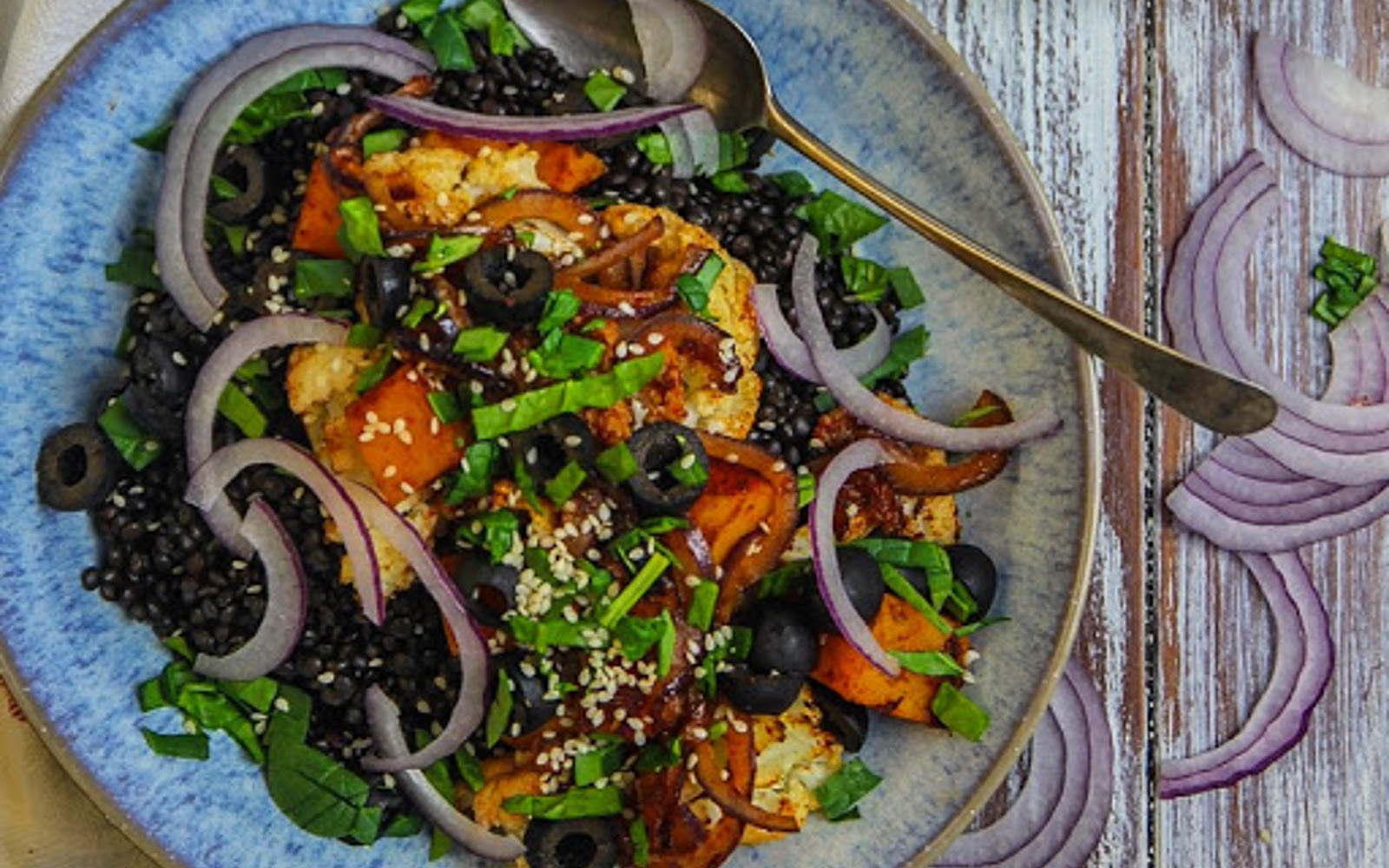 Sultana and Beluga Lentil Salad with Cumin Caramelized Vegetables