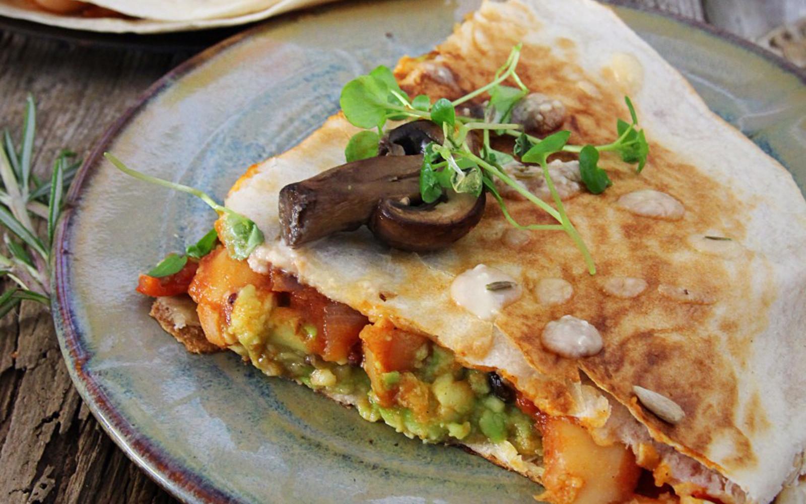 Spicy Bean, Mushroom and Avocado Quesadilla