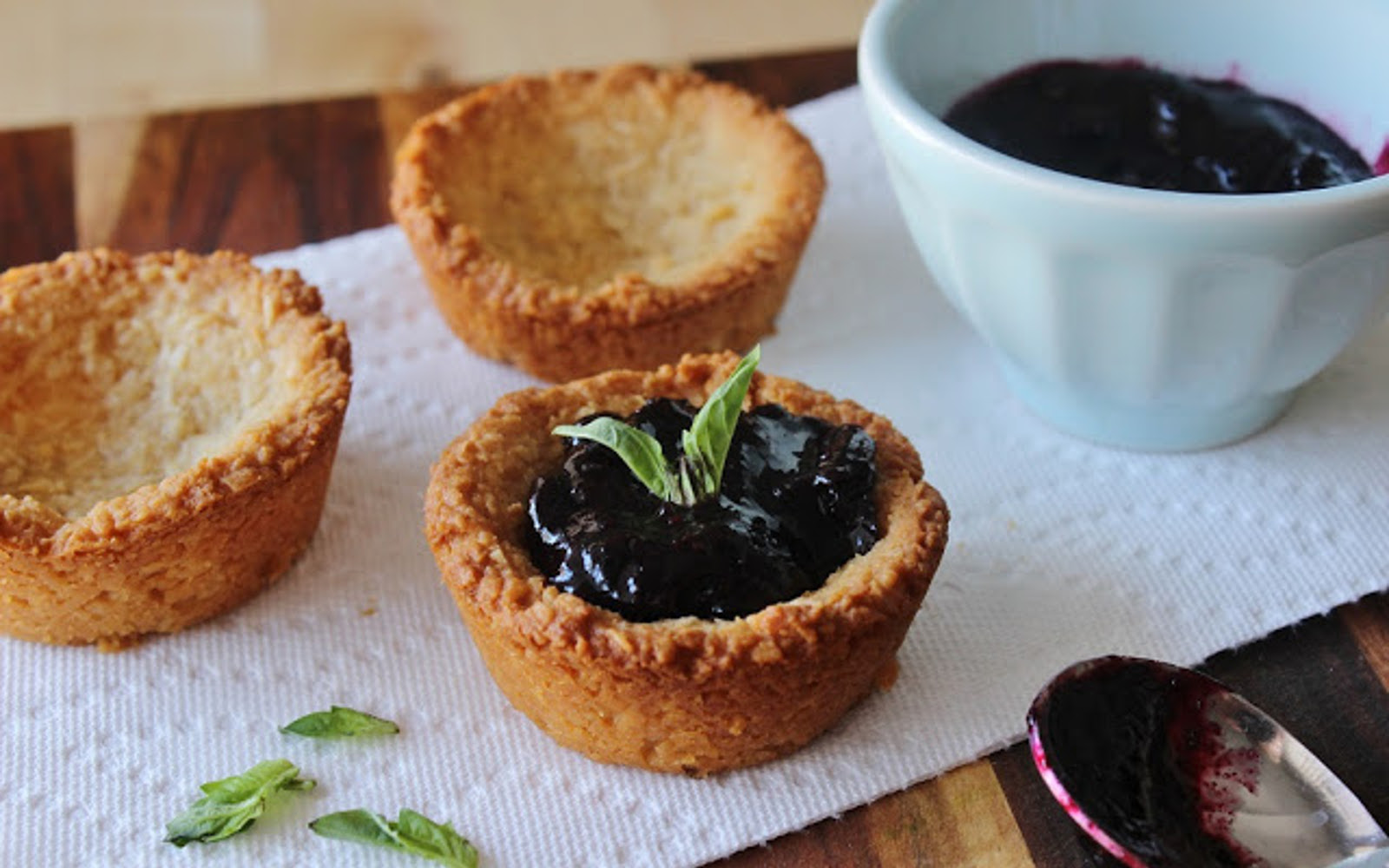 Lemony Macaroon Cups with Blueberry Basil Compote