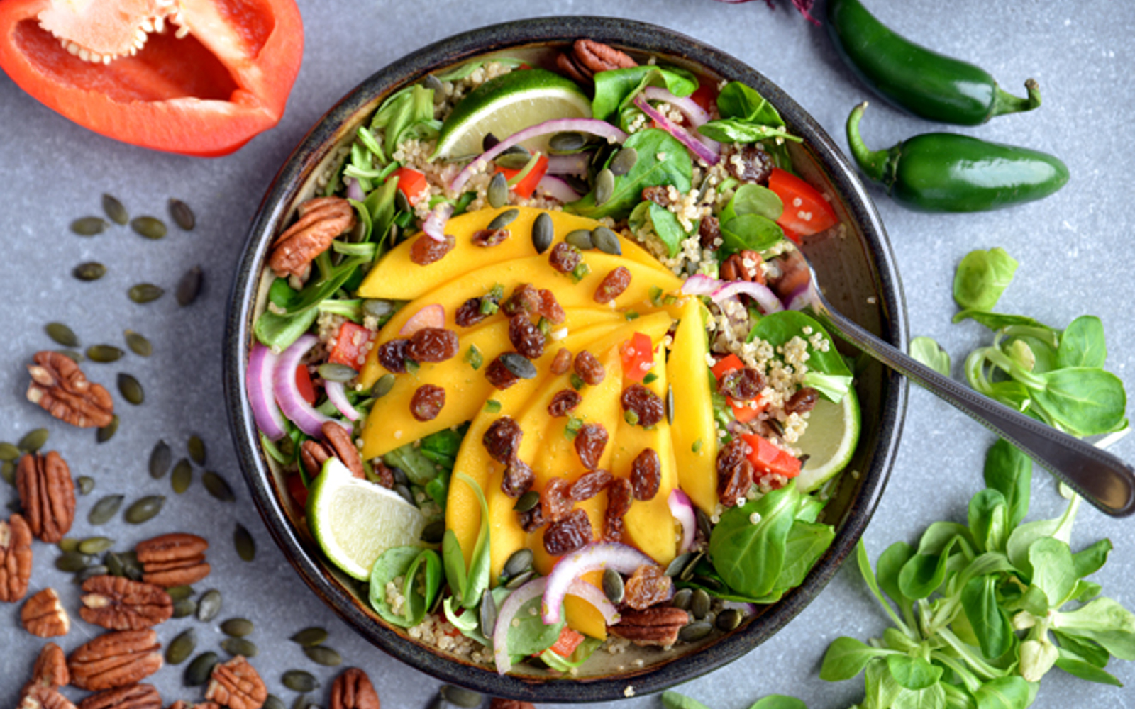 Mango Chili and Lime Quinoa Salad
