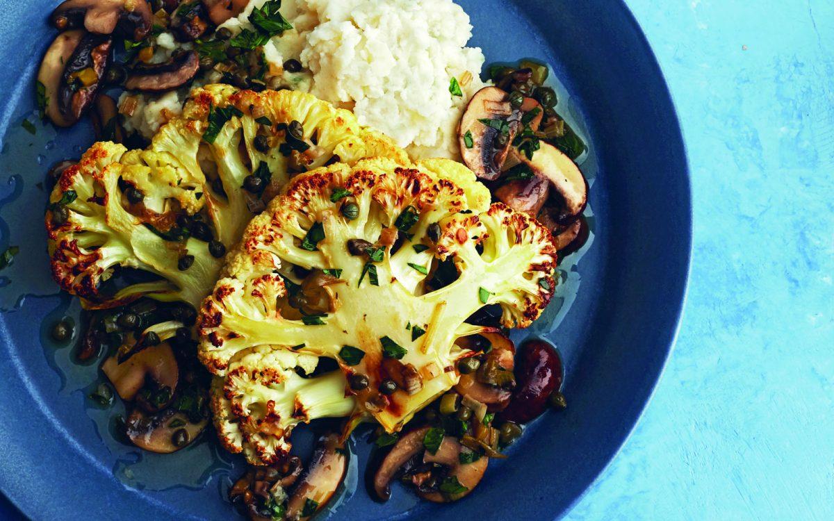 Roasted Cauliflower Piccata With Mashed Potatoes